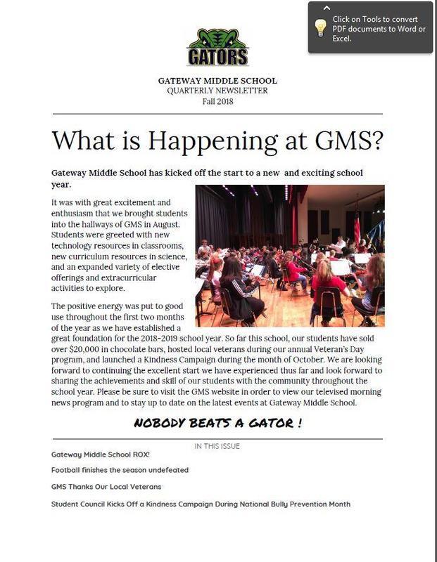 Gateway Middle School Quarterly Newsletter Thumbnail Image