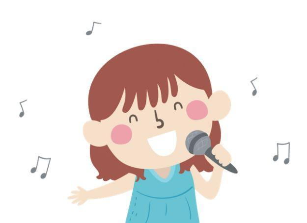 Girl singing into microphone with music notes around her