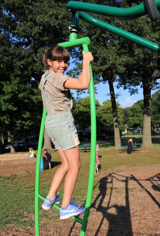 Jefferson School student enjoys playground at Summer Social.