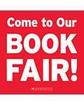 red and white poster about the book fair