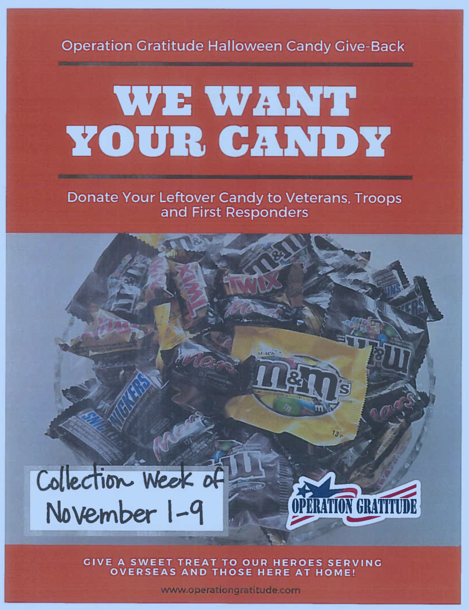 Halloween Candy Donation flyer