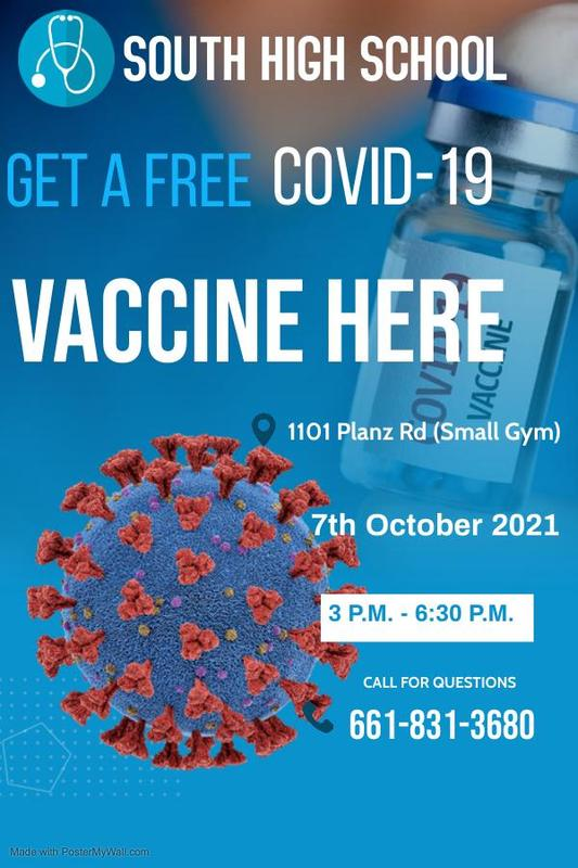 Free Covid-19 Vaccines will be given at South High on October 7th 3 - 6:30 pm Thumbnail Image