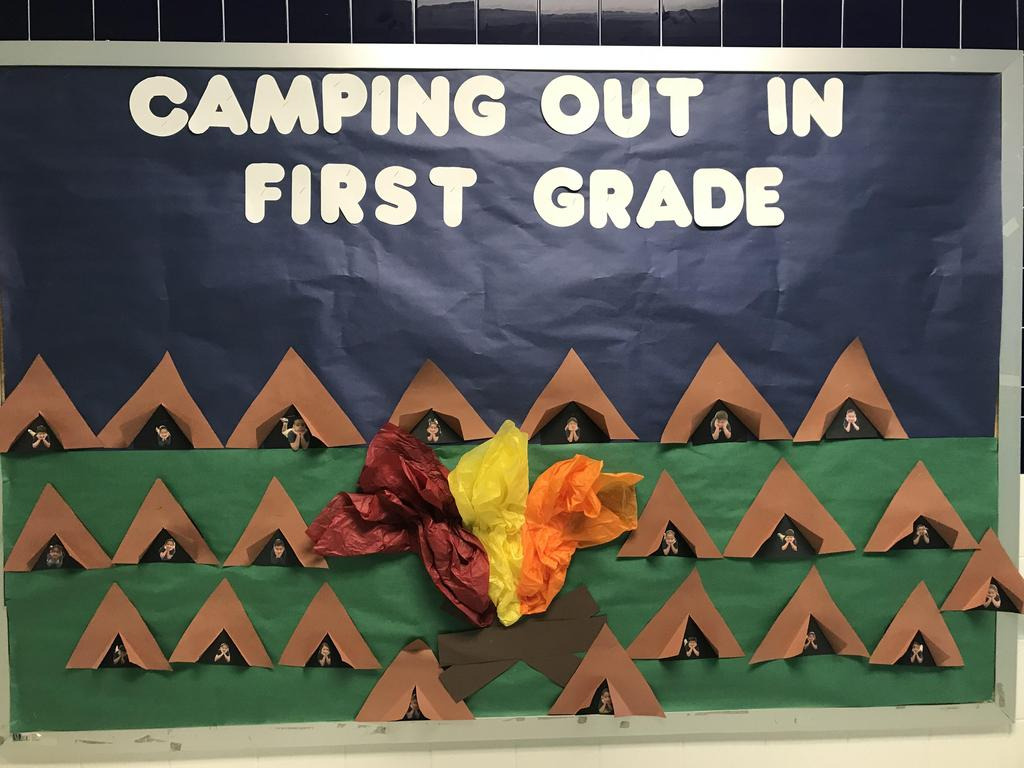 bulletin: camping out in first grade