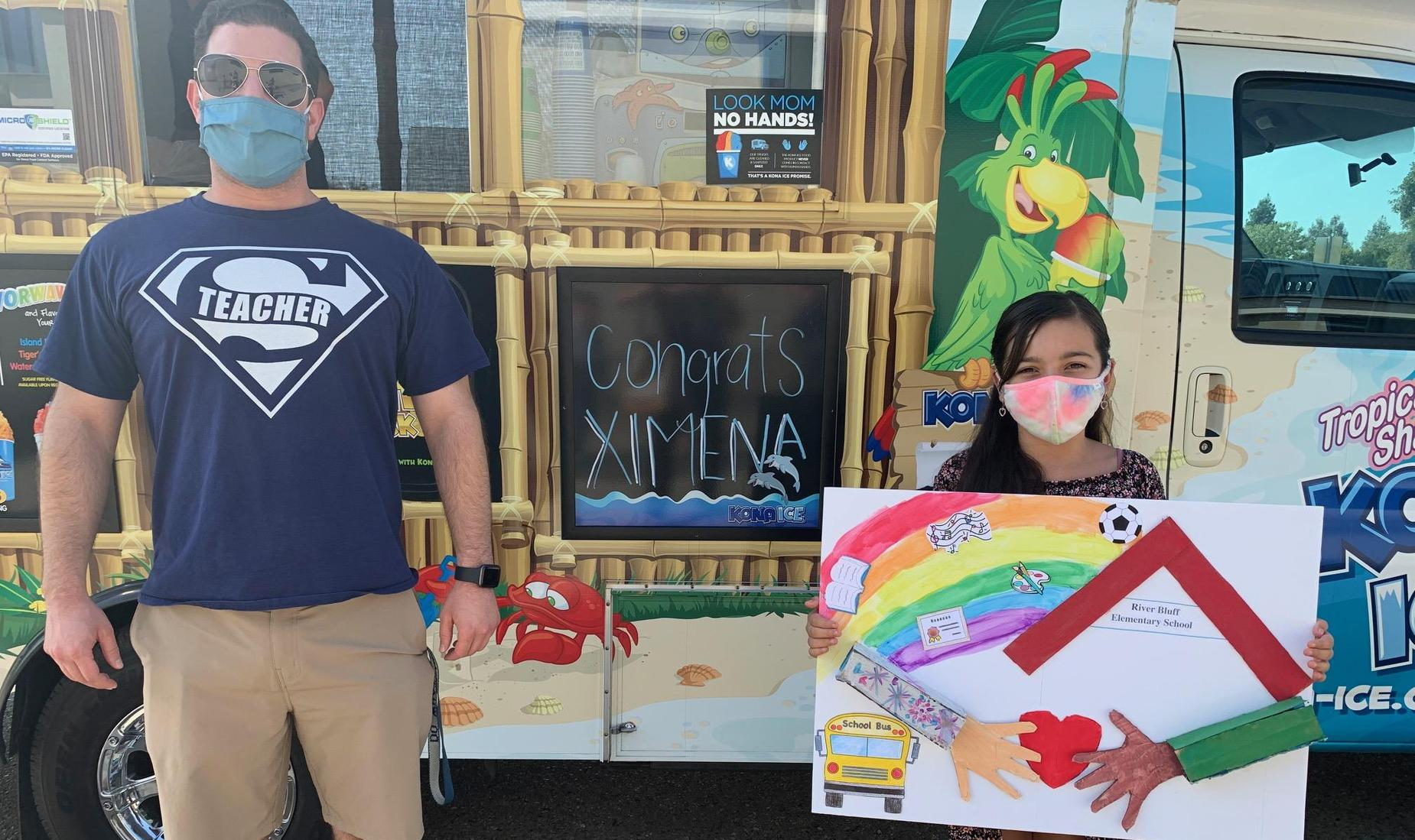 Kona Ice contest winner Ximena from Mr. Bedrosian's class