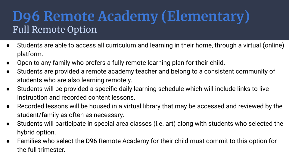 Option 2: D96 Remote Academy (Elementary) Full Remote Option