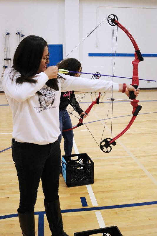 VMHS student learning archery for the Outdoor Adventures class.