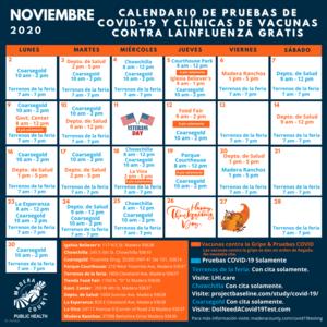 COVID-19 & Flu Clinic Calendar (SPANISH)