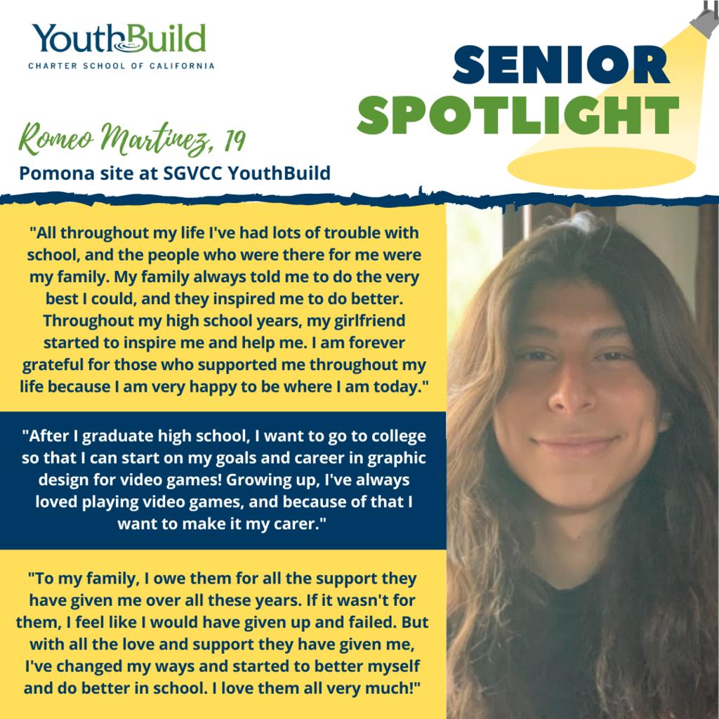 Senior Spotlight for graduate Romeo Martinez