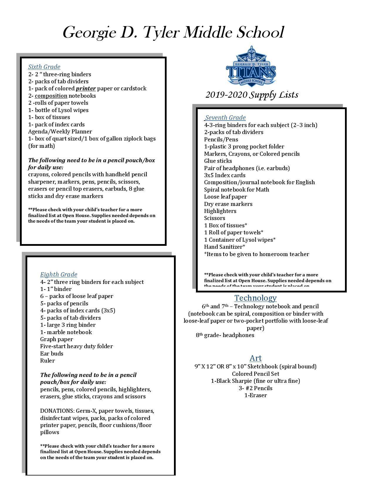 Us School Supply >> School Supply List Parents Georgie Tyler Middle School