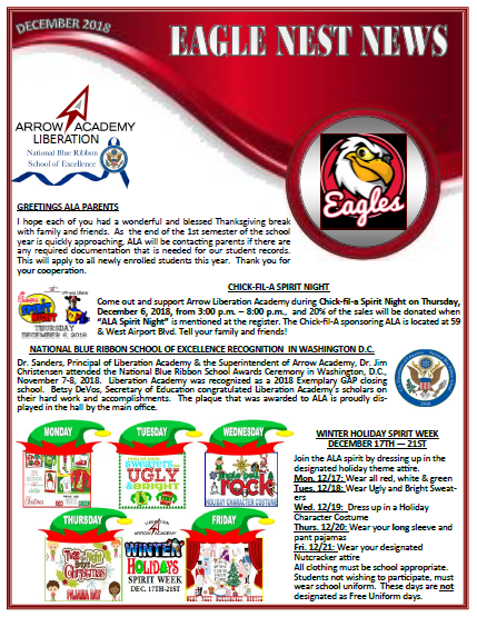 ALA Eagles Nest Newsletter December 2018 Featured Photo