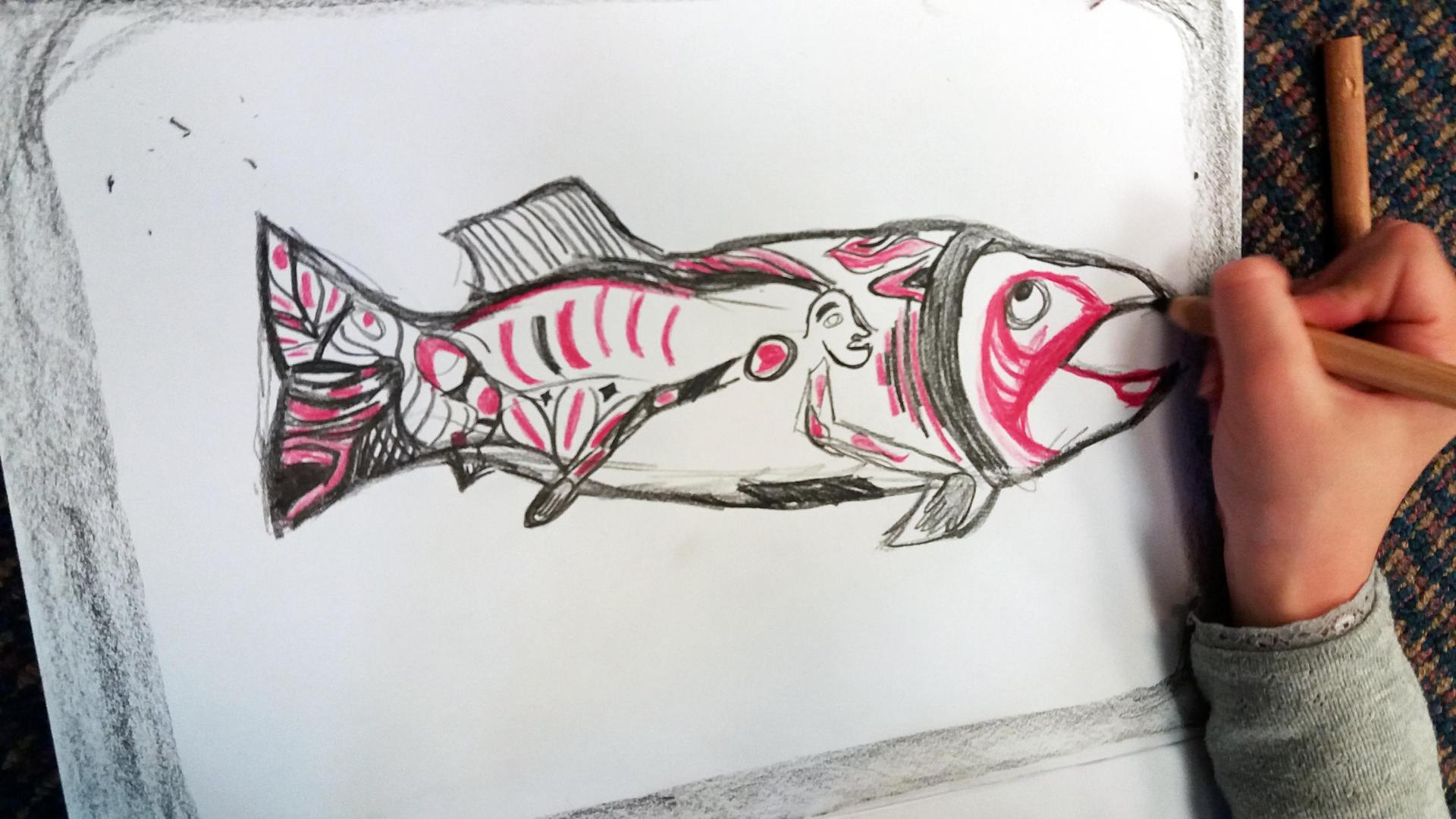 Salmon drawing