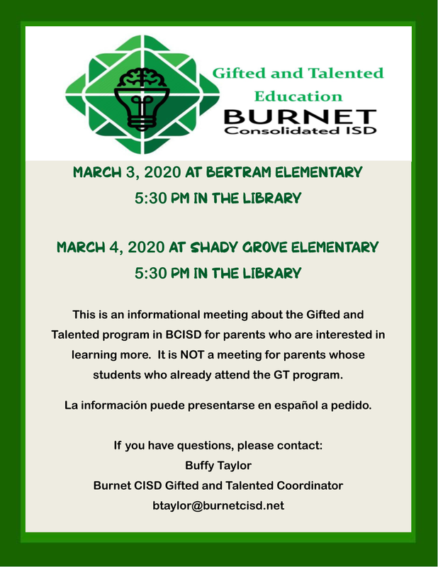 Gifted & Talented Informational Meeting March 4th Thumbnail Image