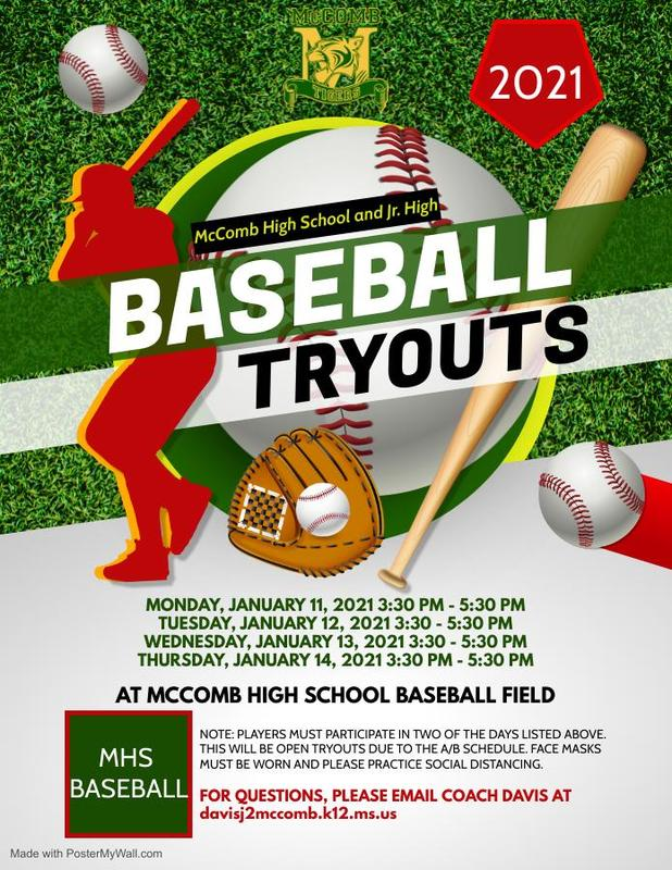 McComb High School and Junior High Baseball Tryout News 2021