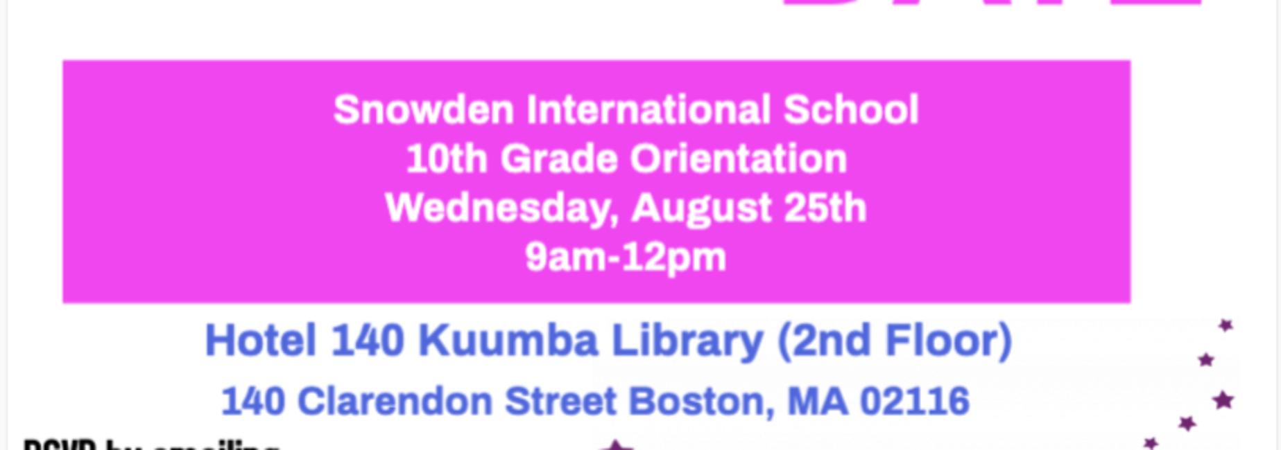 Grade 10 Orientation