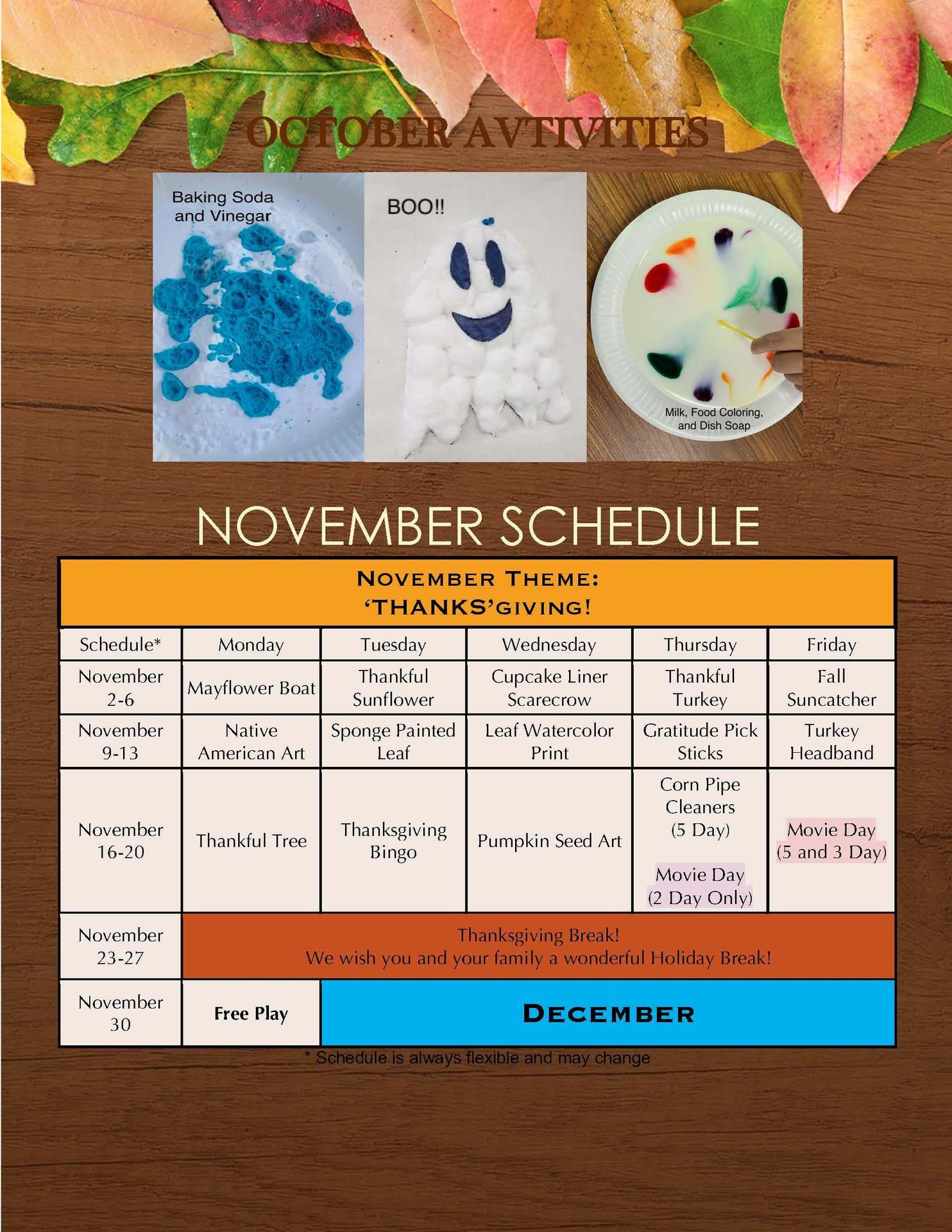 Arundel SMARTE Program Schedule November