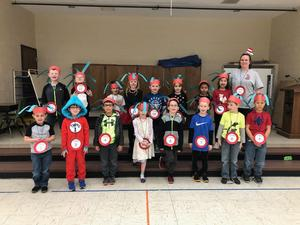 Classroom dressed as Dr. Seuss characters.