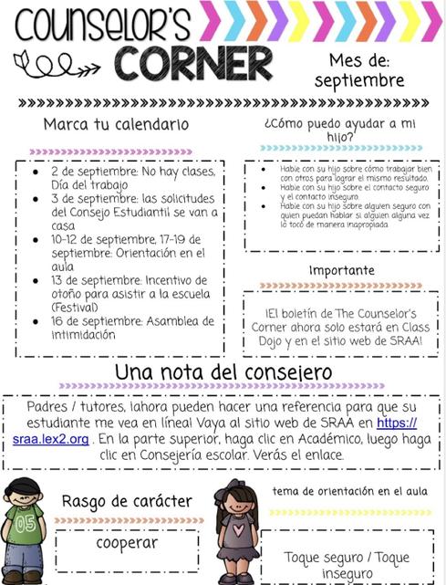 septiembre Counselor's Corner