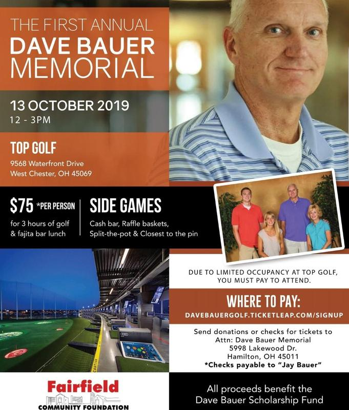 Image of a flyer about a golf outing memorial for Dave Bauer to benefit a scholarship fund through the Fairfield Community Foundation