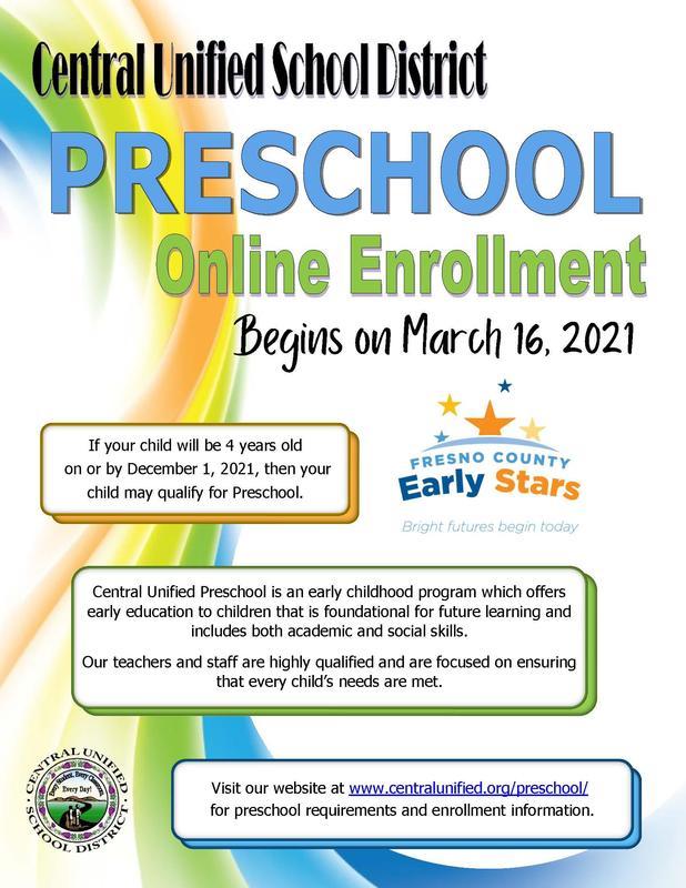 Central Unified Preschool Registration