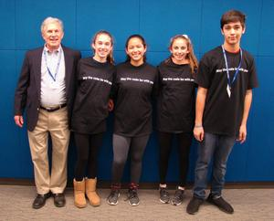 Four 8th graders at Edison Intermediate School recently competed in teams of two as finalists in the 2018 New Jersey Cyber Robotics Competition at the New Jersey Institute of Technology in Newark on Dec. 14.  (L-R)  Edison computer technology teacher Dr. Eugene Ehrlich and Edison 8th graders Catherine Collins, Maya Dias, Gabriela Gil, and Aaron Richman.