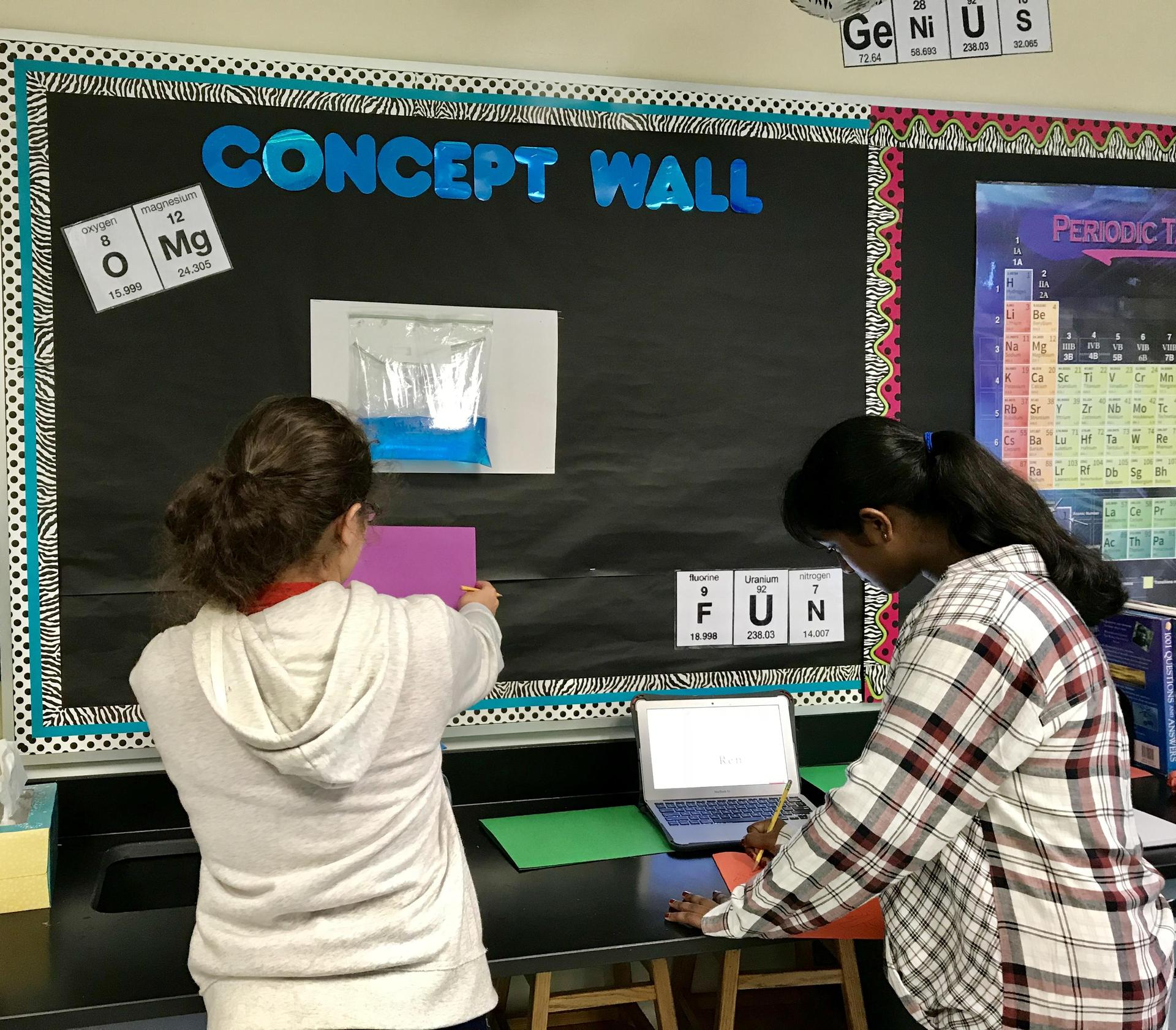Students Adding to their Concept Wall