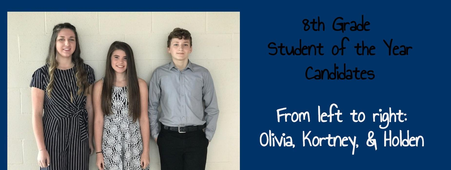 8th Grade Student of the Year Candidates