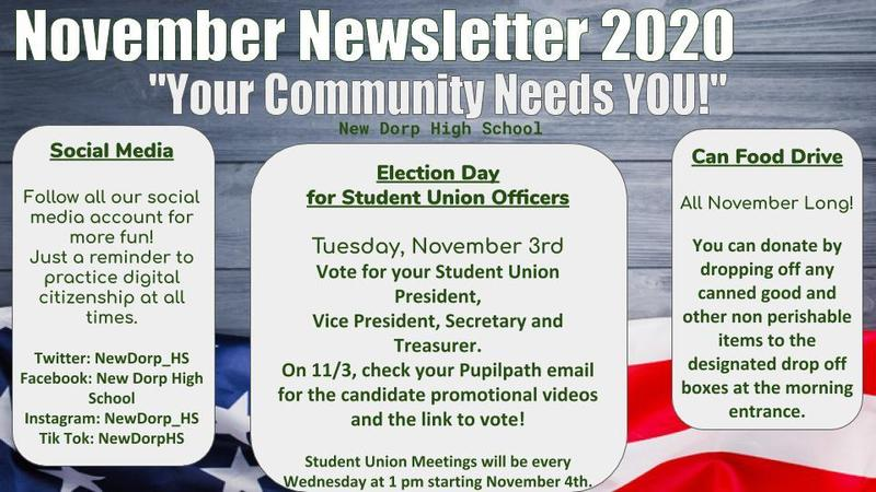November Newsletter 2020 Student Union Elections Information and Canned Food Drive