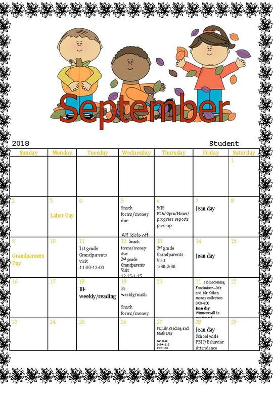 September 2018 calendar of events