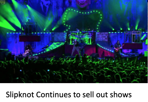 A wide shot of a sold out Slipknot show