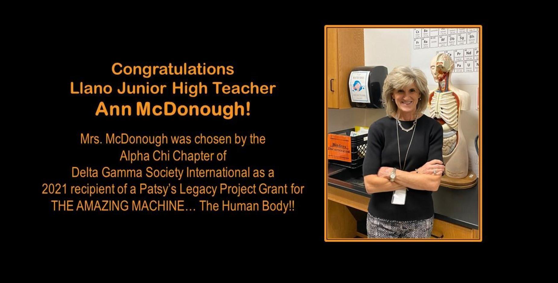 Congrats Mrs. McDonough