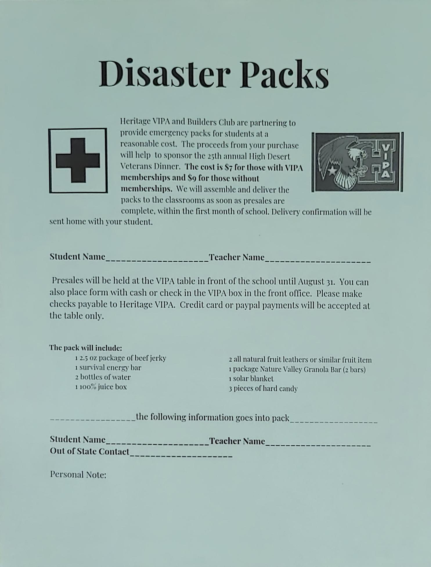 Disaster Pack Pre-orders