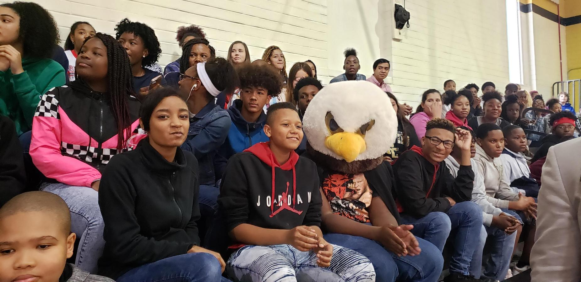 Students will Griffin Mascot at Pep Rally