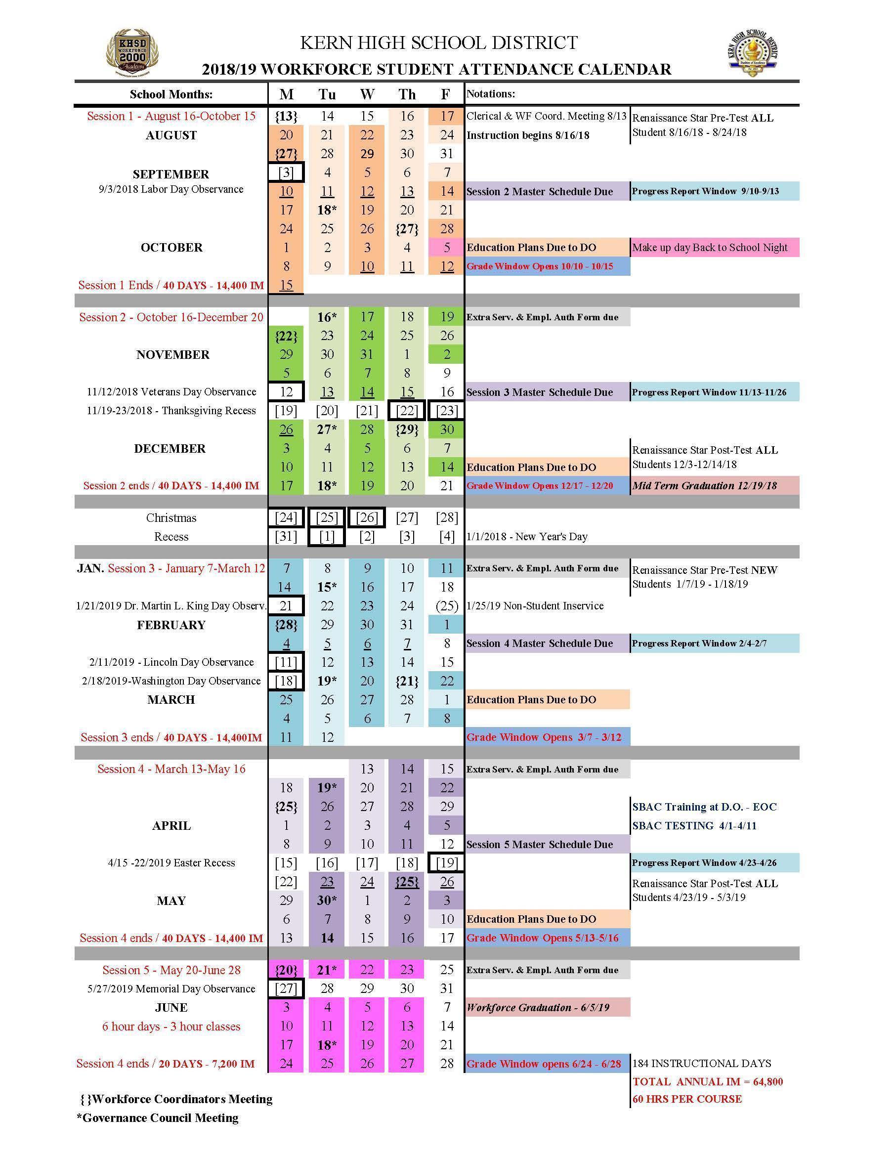 WF Student Attendance Calendar 2018.19