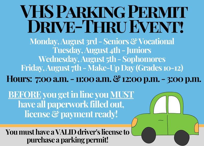 VHS Drive Thru Parking Permit Event
