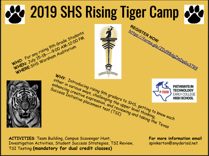 2019 Rising SHS Tiger Camp Featured Photo