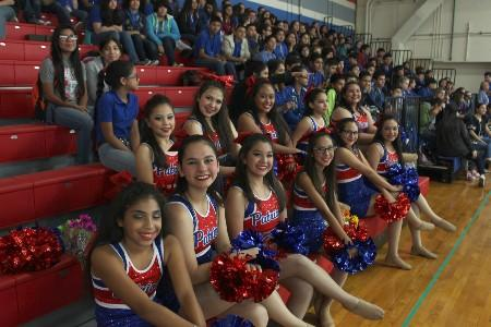 MJHS Starlettes posing for a group photo during a pep rally.