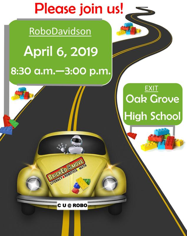Davidson County Schools is excited to host the 5th annual RoboDavidson Competition on Saturday, April 6, 2019/8:30 am-3 pm at Oak Grove High School.  Robotics teams from Davidson County elementary and middle schools will exhibit their engineering, programming and problem solving skills as they attempt to win the title of RoboDavidson Champion.