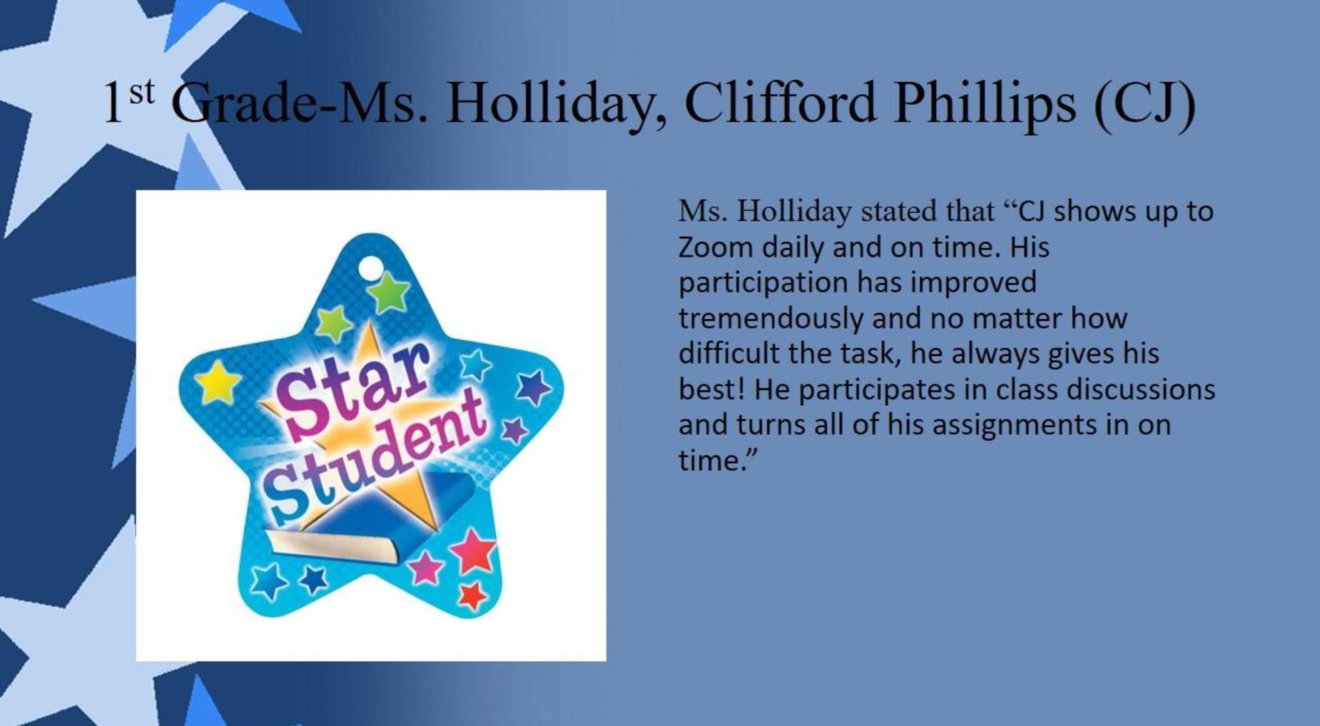 Clifford Phillips (CJ), 1st Grade