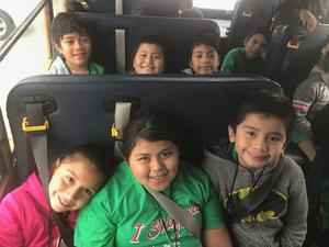 Students on bus heading to Target