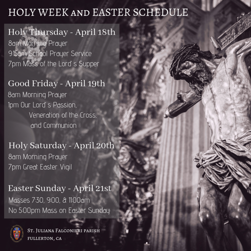 Holy Week Schedule and Easter Schedule Featured Photo