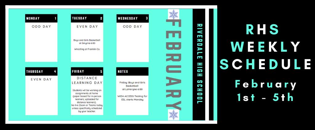 Weekly Schedule 2-1-21
