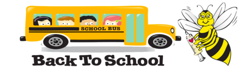 A yellow school bus with children in the window and an bumble bee with glasses and a vaccine needle that says welcome back to school