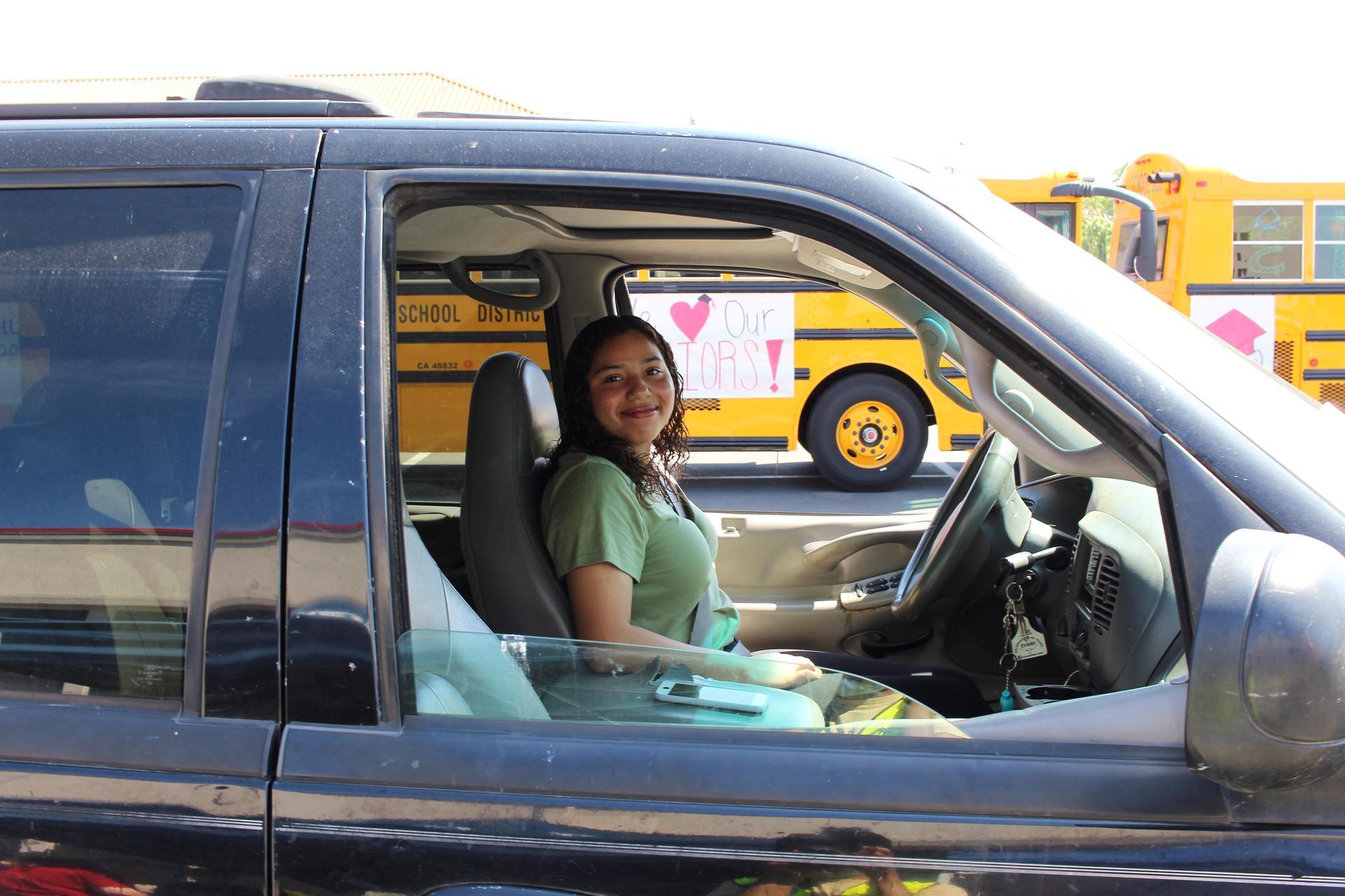 Viktoria Martinez driving through