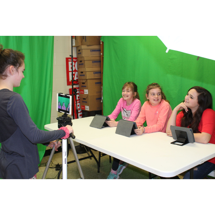 Image of students recording morning announcement video