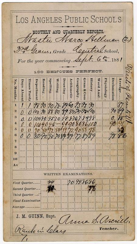 old report card from the 1800s