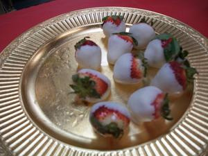 White chocolate covered strawberries from the waffle breakfast.