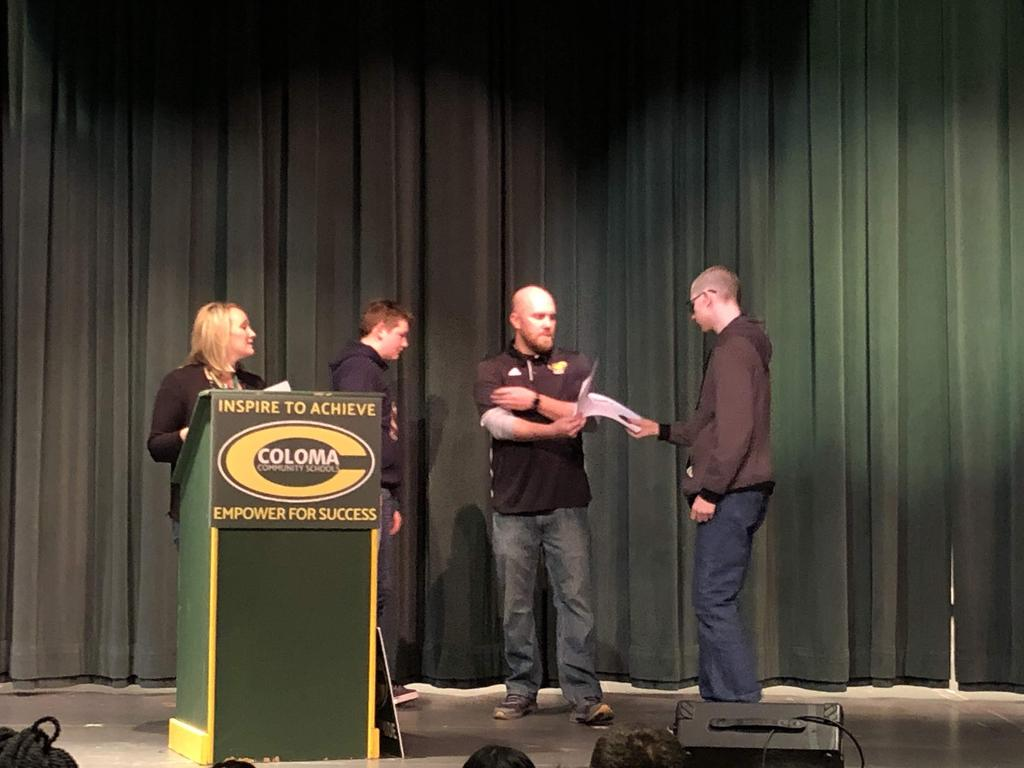 Mrs. Tremblay and Mr. Zahrt Handing out awards