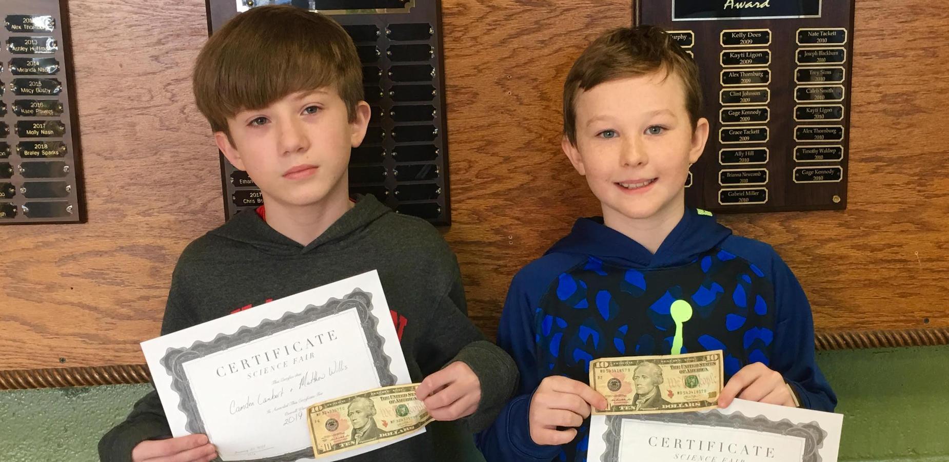 Matthew Willis and Camden Lambert overall Science Fair Winners.