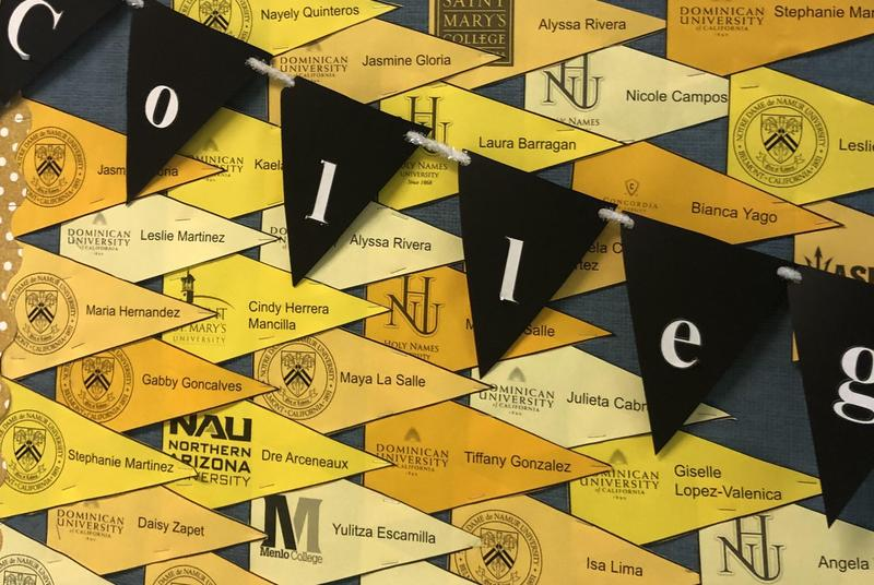bulletin board with pennants of colleges studnets have been accepted to