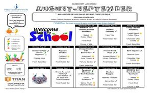 August - September Lunch Menu page 1